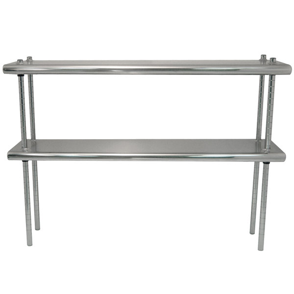 """Advance Tabco DS-12-84R 12"""" x 84"""" Table Rear Mounted Double Deck Stainless Steel Shelving Unit - Adjustable with 1"""" Rear Turn-Up"""
