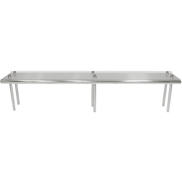 """Advance Tabco TS-12-96R 12"""" x 96"""" Table Rear Mounted Single Deck Stainless Steel Shelving Unit - Adjustable with 1"""" Rear Turn-Up"""