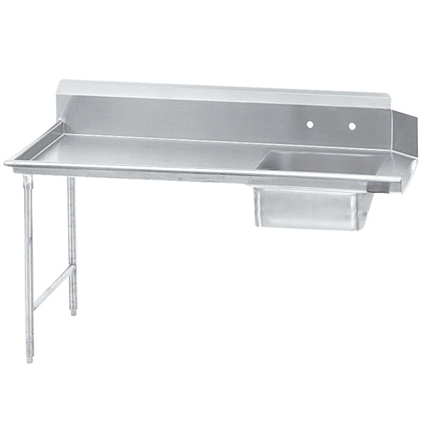 Left Table Advance Tabco DTS-S70-84 7' Standard Stainless Steel Soil Straight Dishtable