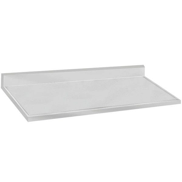 """Advance Tabco VKCT-248 25"""" x 96"""" Stainless Steel Countertop with 10"""" Backsplash"""