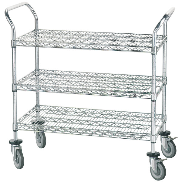 "Advance Tabco WUC-2436R 24"" x 36"" Chrome Wire Utility Cart with Rubber Casters Main Image 1"