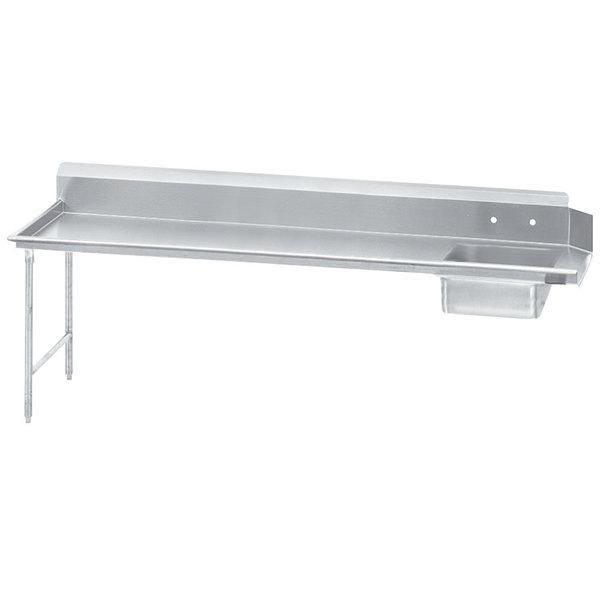 Left Table Advance Tabco DTS-S70-120 10' Standard Stainless Steel Soil Straight Dishtable