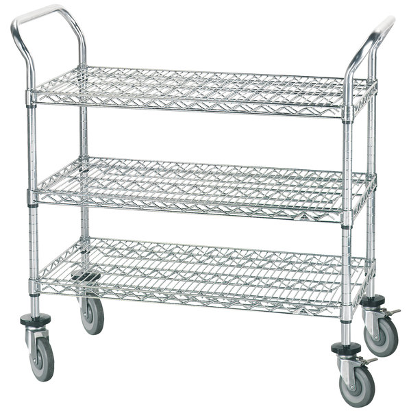 "Advance Tabco WUC-1836P 18"" x 36"" Chrome Wire Utility Cart with Poly Casters"