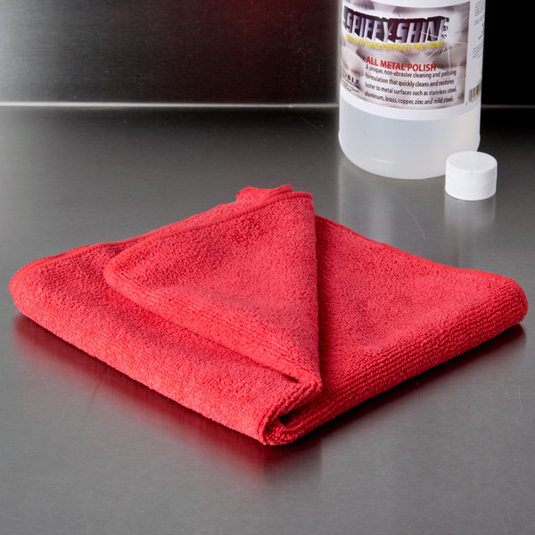"""16"""" x 16"""" Red Microfiber Cleaning Cloth - 12/Pack"""
