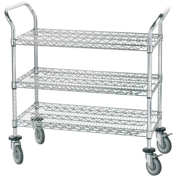 "Advance Tabco WUC-2442R 24"" x 42"" Chrome Wire Utility Cart with Rubber Casters Main Image 1"