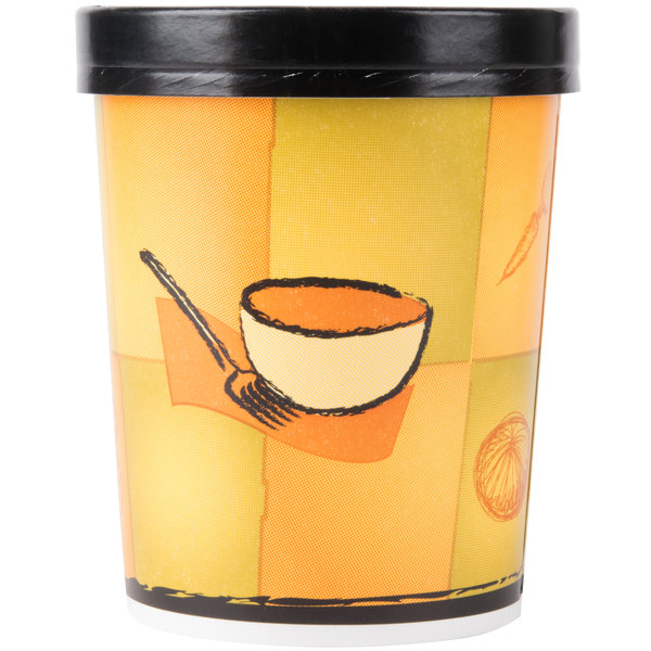 Huhtamaki Chinet 71853 32 oz. Double-Wall Poly Paper Soup / Hot Food Cup with Vented Paper Lid and Streetside Design - 250 / Case
