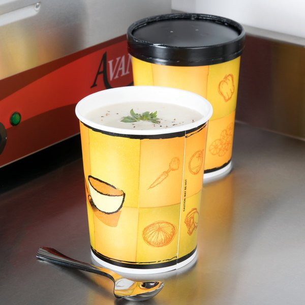Huhtamaki Chinet 71853 Streetside Print 32 oz. Double-Wall Poly Paper Soup / Hot Food Cup with Vented Paper Lid - 250/Case
