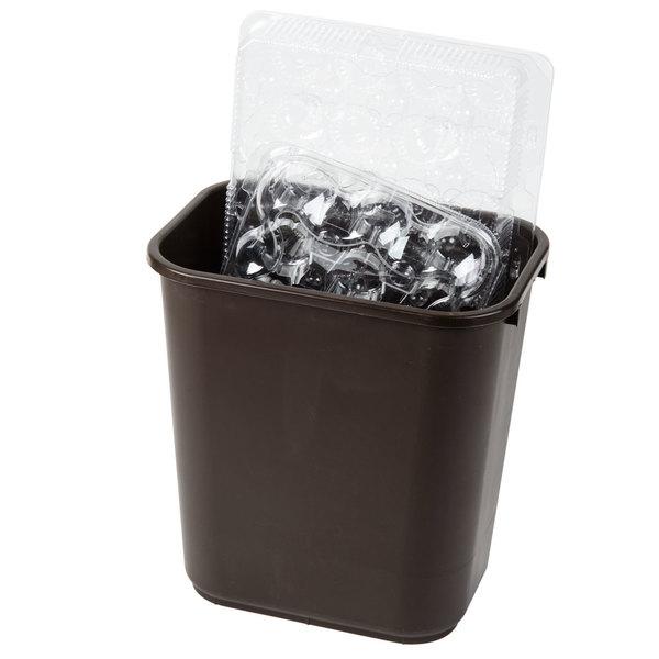 Continental 2818BN 28 Qt. / 7 Gallon Brown Rectangular Wastebasket / Trash Can Main Image 2