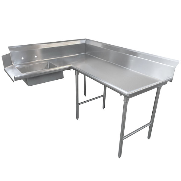 Right Table Advance Tabco DTS-K70-96 8' Standard Stainless Steel Soil L-Shape Dishtable