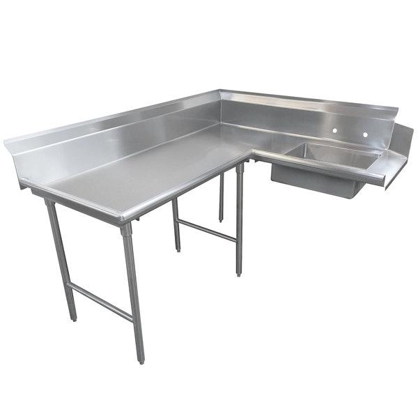 Left Table Advance Tabco DTS-K70-120 10' Standard Stainless Steel Soil L-Shape Dishtable