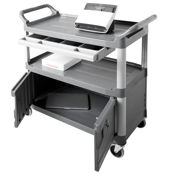 Rubbermaid Fg409400gray Xtra Gray 300 Lb Instrument Cart With Lockable Doors And Sliding Drawers