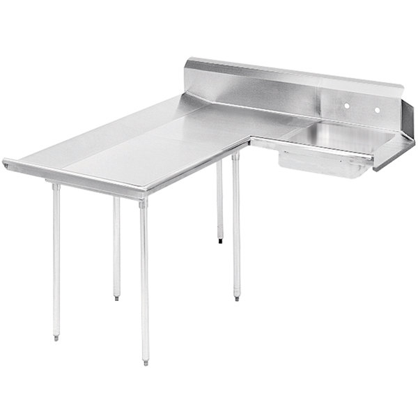 Left Table Advance Tabco DTS-D70-84 7' Standard Stainless Steel Dishlanding Soil L-Shape Dishtable