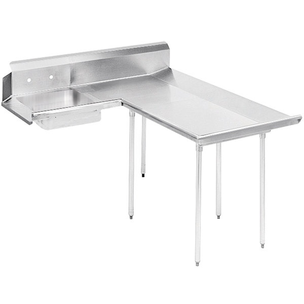 Right Table Advance Tabco DTS-D60-48 4' Super Saver Stainless Steel Dishlanding Soil L-Shape Dishtable