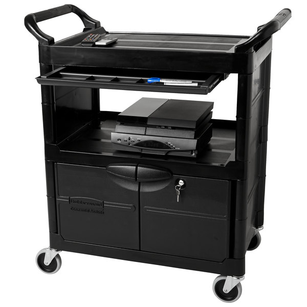 Rubbermaid FG345700BLA Black Utility Cart with Lockable Doors and Sliding Drawer
