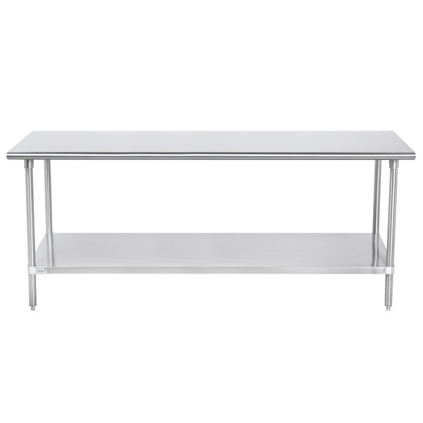 "Advance Tabco SAG-247 24"" x 84"" 16 Gauge Stainless Steel Commercial Work Table with Undershelf"