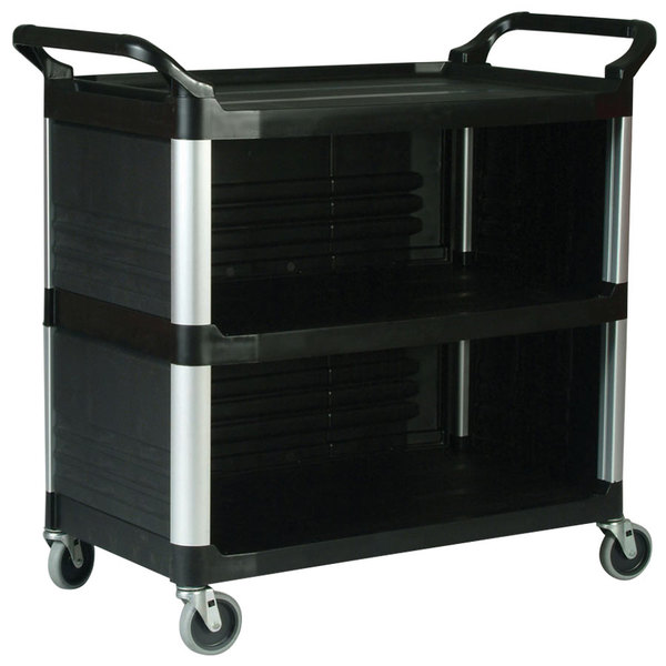 Rubbermaid FG409300BLA Xtra Black 300 lb. Utility Cart with Enclosed End Panels on Three Sides Main Image 1