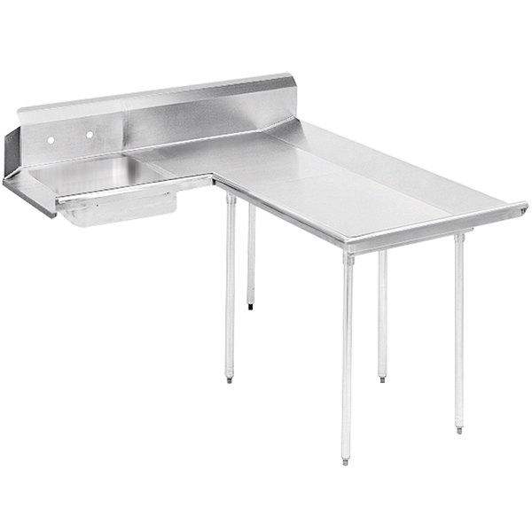 Right Table Advance Tabco DTS-D70-84 7' Standard Stainless Steel Dishlanding Soil L-Shape Dishtable