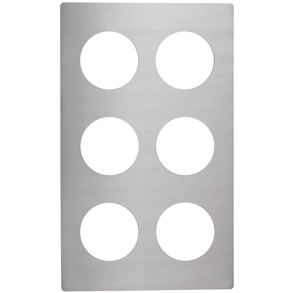 Vollrath 8241914 Miramar Stainless Steel Adapter Plate for Six 1.25 Qt. Bain Marie Pots Main Image 1