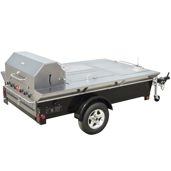 "Crown Verity TG-4 69"" Tailgate Grill with Beverage Compartments and Sink"