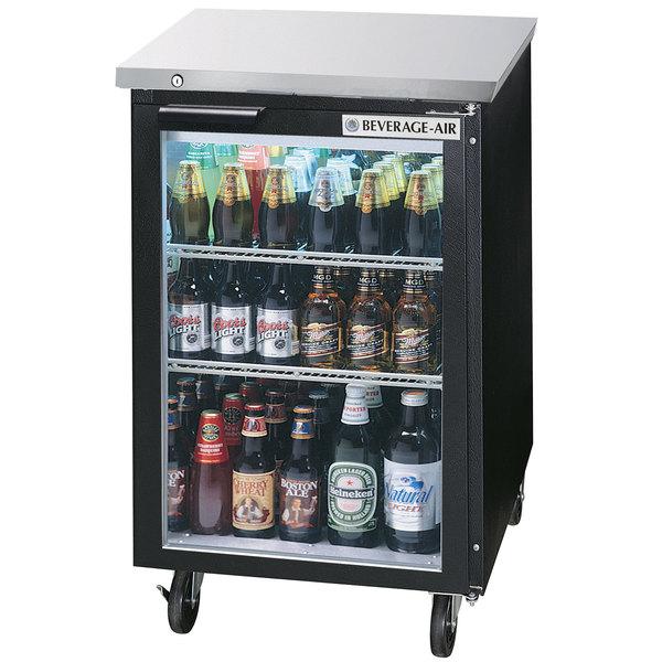 "Beverage-Air BB24HC-1-FG-B 24"" Black Food Rated Glass Door Back Bar Cooler"