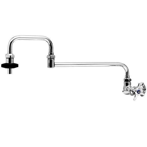 """T&S B-0592-LF20 Wall Mount Pot Filler Faucet with 18"""" Double Joint Swing Nozzle, 4 Arm Handle, and 2 GPM Flow Control Cartridge"""