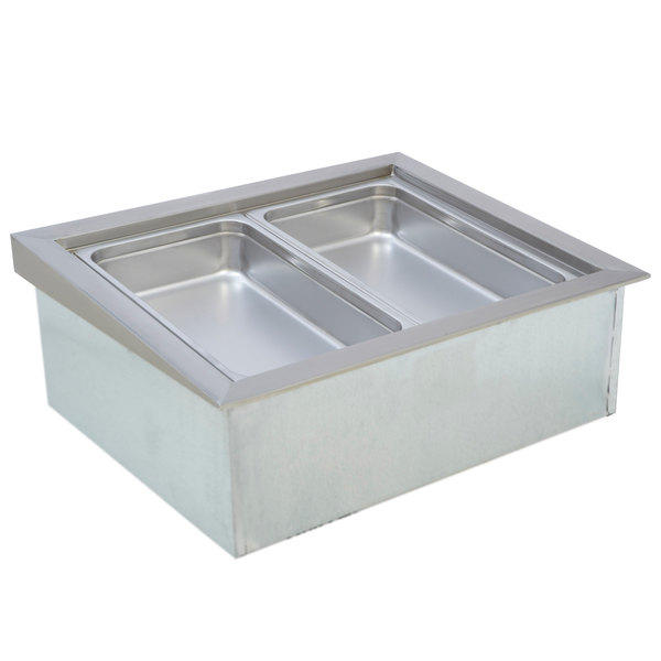 """Wells ICP-200ST 31"""" Two Pan Drop In Ice Cooled Cold Food Well with Slope Top"""
