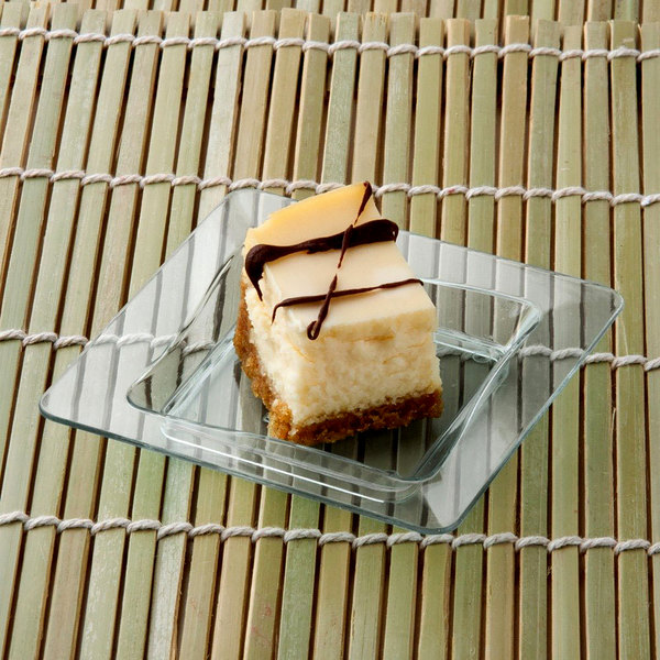 """Fineline Tiny Temptations 6200-CL 3"""" x 3"""" Tiny Trays Disposable Clear Plastic Tray - 10/Pack"""