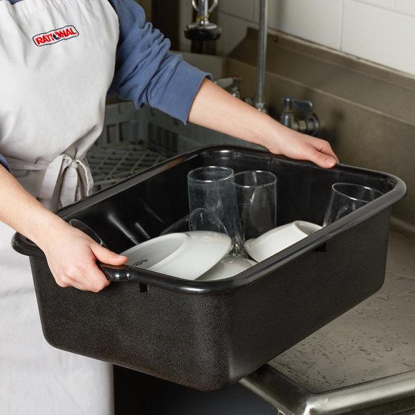 "Tablecraft 1537E Black 21"" x 16"" x 7"" Recycled Polyethylene Plastic Bus Tub / Box Main Image 2"