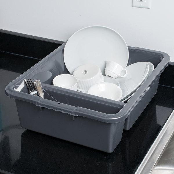 "Tablecraft 1547G 21"" x 17"" x 7"" Gray Heavy Duty Polyethylene Plastic Divided Bus Tub, Bus Box"