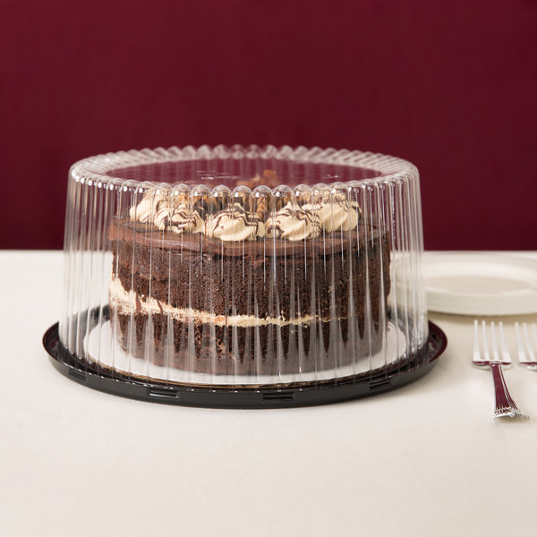 "D&W Fine Pack G27-1 9"" 2-3 Layer Cake Display Container with Clear Dome Lid - 10/Pack"