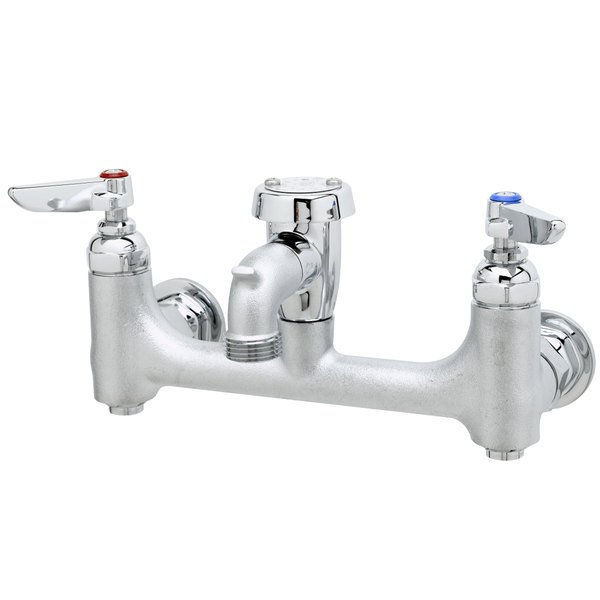 """T&S B-0674-BSTR Wall Mount Rough Chrome Service Sink Faucet with 8"""" Adjustable Centers, Eterna Cartridges, Pail Hook, and Vacuum Breaker"""