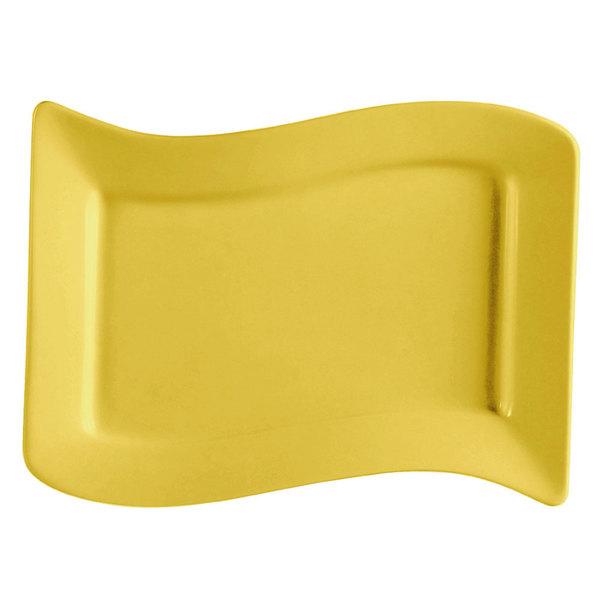 "CAC SOH-14YW Color Soho 13 1/2"" x 8 7/8"" Yellow Rectangular Stoneware Platter - 12/Case"