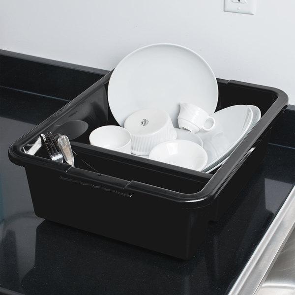 "Tablecraft 1547B 21"" x 17"" x 7"" Black Heavy Duty Polyethylene Plastic Divided Bus Tub, Bus Box"
