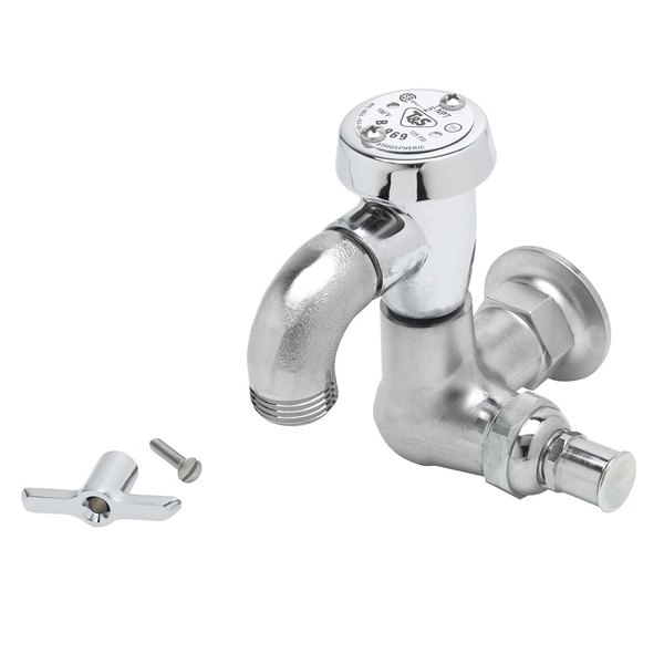 Polished Chrome Bib Tap With Quick-Action Coupling For Connecting Garden Hose