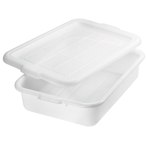 "Tablecraft 1537N White 21"" x 16"" x 7"" Polyethylene Plastic Bus Tub, Bus Box"