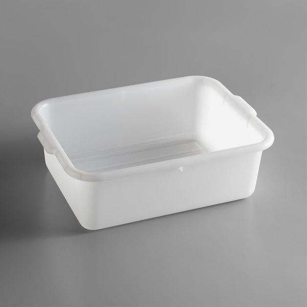"Tablecraft 1537N White 21"" x 16"" x 7"" Polyethylene Plastic Bus Tub / Food Storage Box Main Image 1"