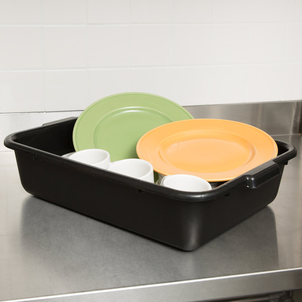 "Black 21"" x 16"" x 5"" Recycled Polyethylene Plastic Bus Tub, Bus Box"