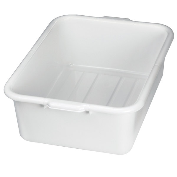 "Tablecraft 1537W White 21"" x 16"" x 7"" Polyethylene Plastic Bus Tub, Bus Box"