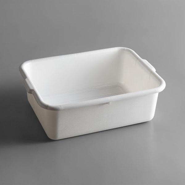 "Tablecraft 1537W White 21"" x 16"" x 7"" Polyethylene Plastic Bus Tub / Food Storage Box Main Image 1"