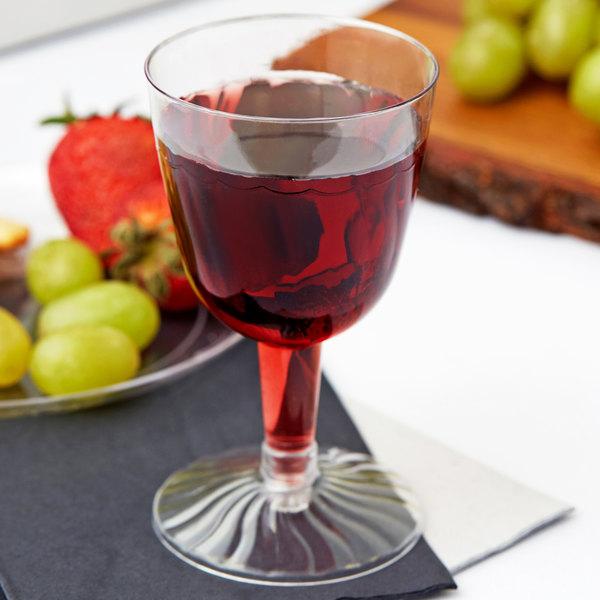 Fineline Flairware 2206 5 oz. 2-Piece Clear Plastic Wine Goblet - 20/Pack