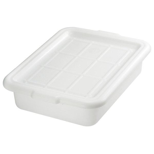 "Tablecraft F1529 White 21"" x 16"" x 5"" Polyethylene Plastic Bus Tub, Bus Box"