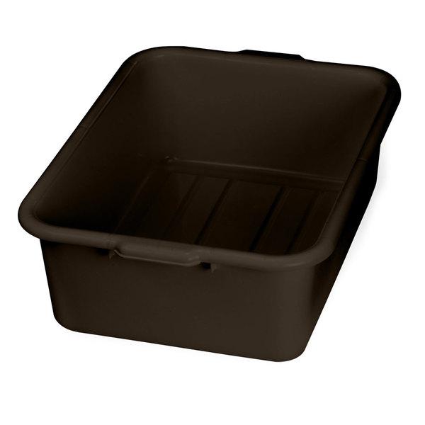 "Tablecraft 1537BR Brown 21"" x 16"" x 7"" Polyethylene Plastic Bus Tub, Bus Box"
