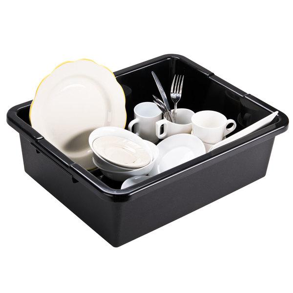 """Tablecraft 1557B Black 21"""" x 17"""" x 7"""" Heavy Duty Polyethylene Plastic Bus Tub, Bus Box"""