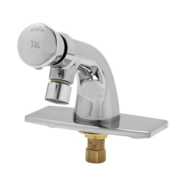 T&S B-0805-VR Vandal Resistant 2.2 GPM Single Temperature Deck Mount Metering Faucet with Push Button Cap and Deck Plate
