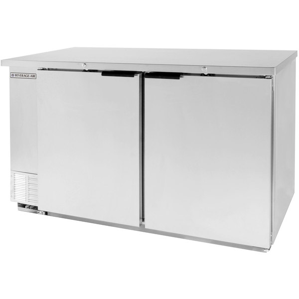 """Beverage Air BB58F-1-S 59"""" Stainless Steel Food Rated Solid Door Back Bar Cooler with Two Doors"""