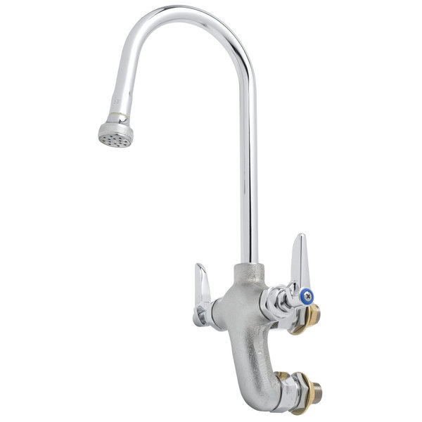 "T&S B-0815-RGH Wall Mount Rough Chrome Vertical Mixing Gooseneck Faucet with 3"" Vertical Adjustable Centers and 4 Arm Handles"