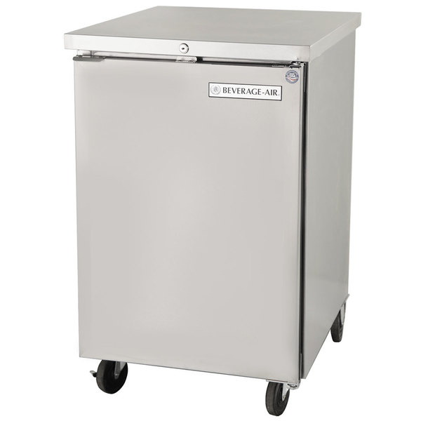 "Beverage Air BB24F-1-S 24"" Stainless Steel Food Rated Solid Door Back Bar Cooler"