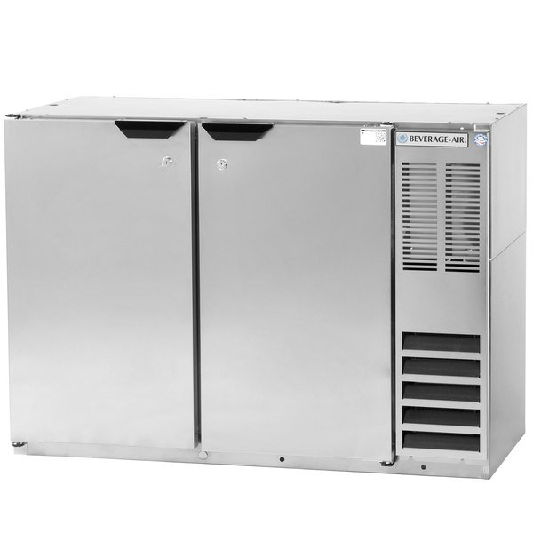"Beverage Air BB48HC-1-F-S 48"" Back Bar Refrigerator with Stainless Steel Exterior and 2 Solid Doors - 115V"
