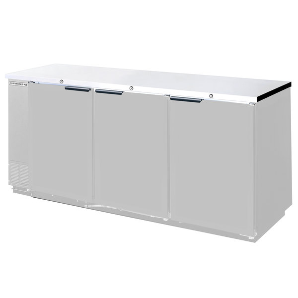 "Beverage-Air BB72HC-1-F-S 72"" Back Bar Refrigerator with Stainless Steel Exterior and 3 Solid Doors - 115V Main Image 1"