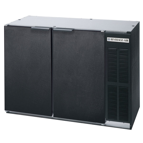 """Beverage Air BB48HC-1-F-B 48"""" Back Bar Refrigerator with Black Exterior and 2 Solid Doors - 115V"""